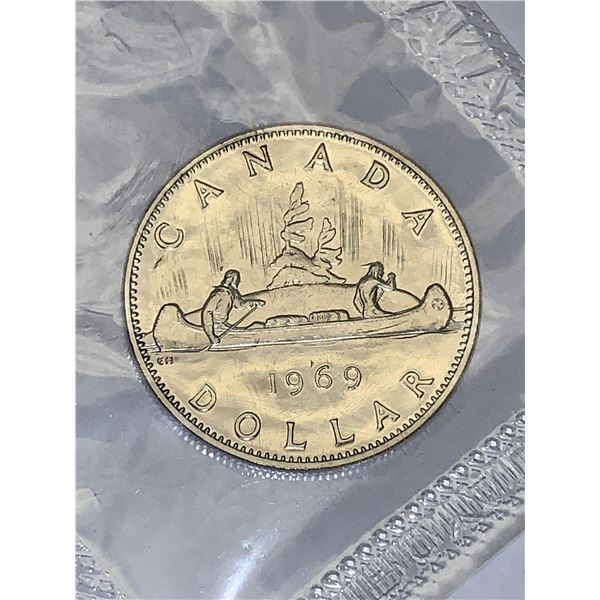 Royal Canadian Mint Proof Sealed Vintage 1969 Canada Canoe Dollar Coin