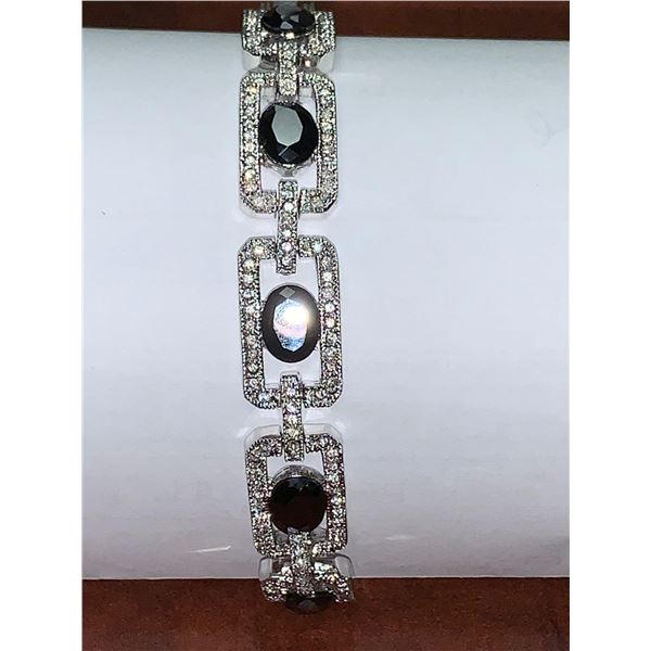Ladies Sterling Silver Sapphire and embellished Stones Tennis Bracelet