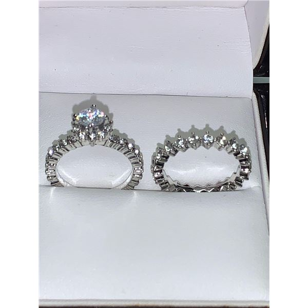 Italian Designed Summer Bride 1.0 Carat Solitaire Ladies 2 ring wedding engagement set size 8