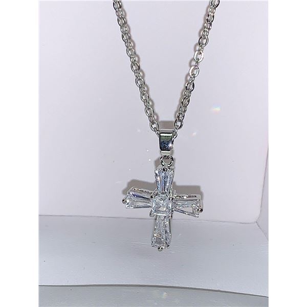 Sterling Silver Crucifix White Sapphire Style stones Pendant and Chain Set