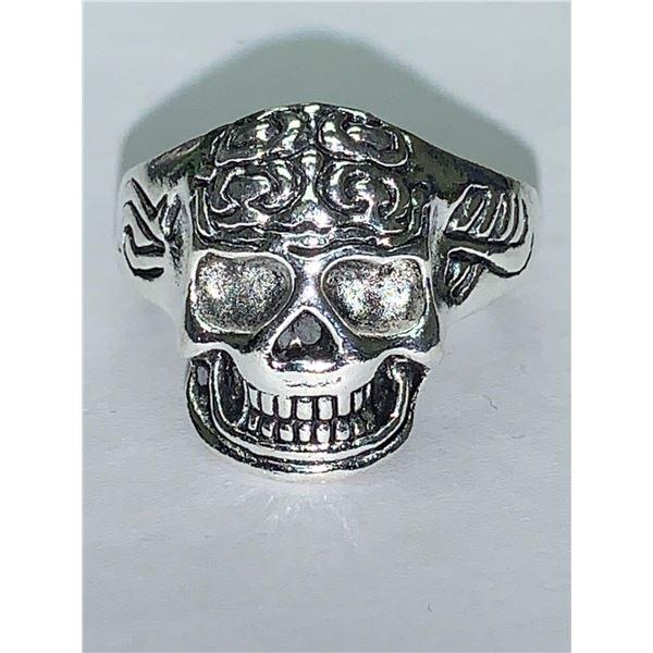 Mens Silver Biker Skull Ring NEW size 10 road fury
