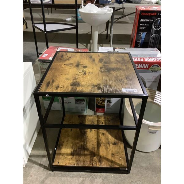 Steel Frame Wooden End Table (20in x 20in x 24in)