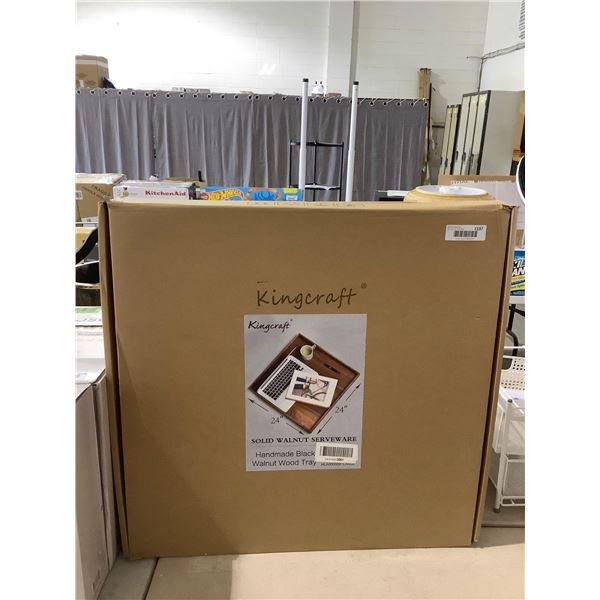 Kingcraft Solid Walnut Wood ServewareTray (24in x 24in)