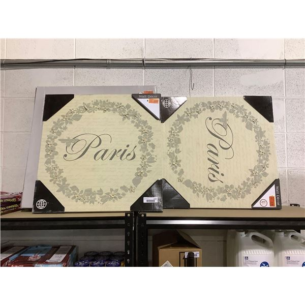 Paris Floral Wall Decor (24in x 24in) Lot of 2