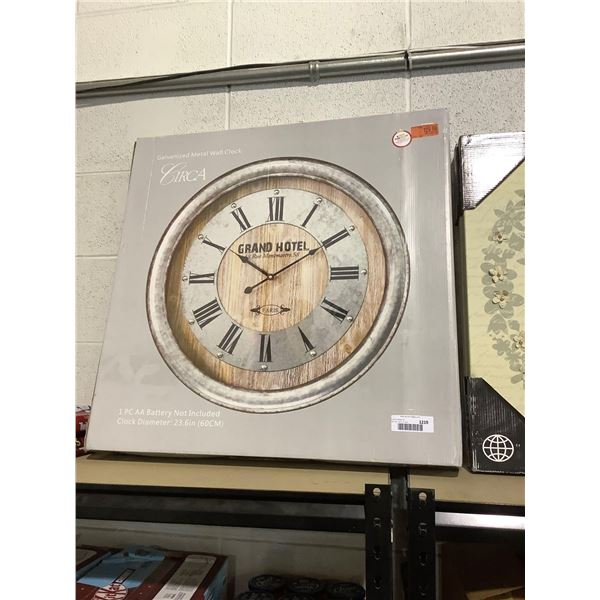 Grand Hotel Galvanized Metal Wall Clock (23.6in Diameter)
