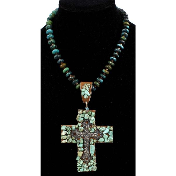 Leather & Turquoise Cross Pendant Necklace