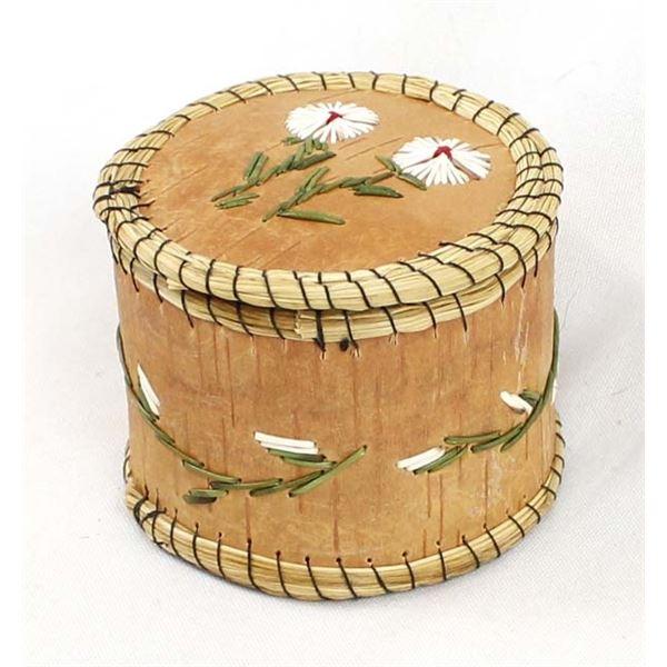 Anishinabek Quill & Birch Bark Lidded Box
