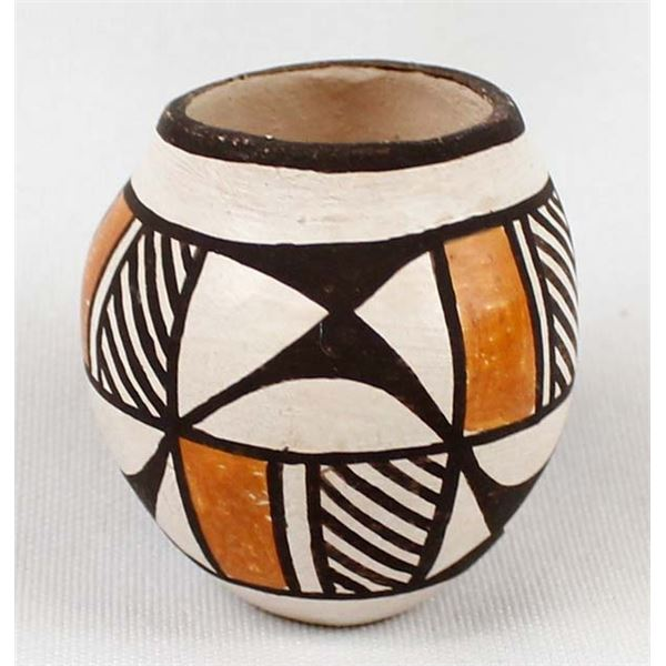 Miniature Acoma Pottery Bowl by L. Vallo