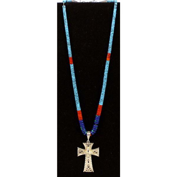 Navajo Heishi Bead & Cross Pendant Necklace