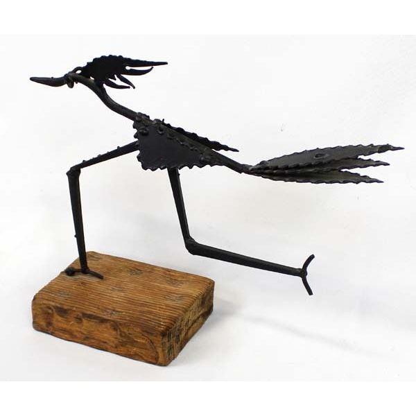 Metal Art Roadrunner on Wood Stand