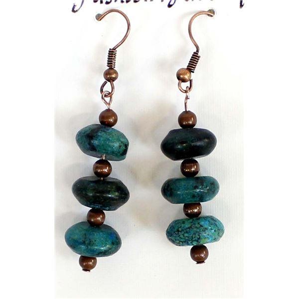 Turquoise Rondelle Bead Earrings by L. McLellan