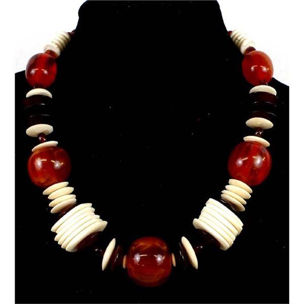 Butterscotch Amber & Carved Bone Choker Necklace