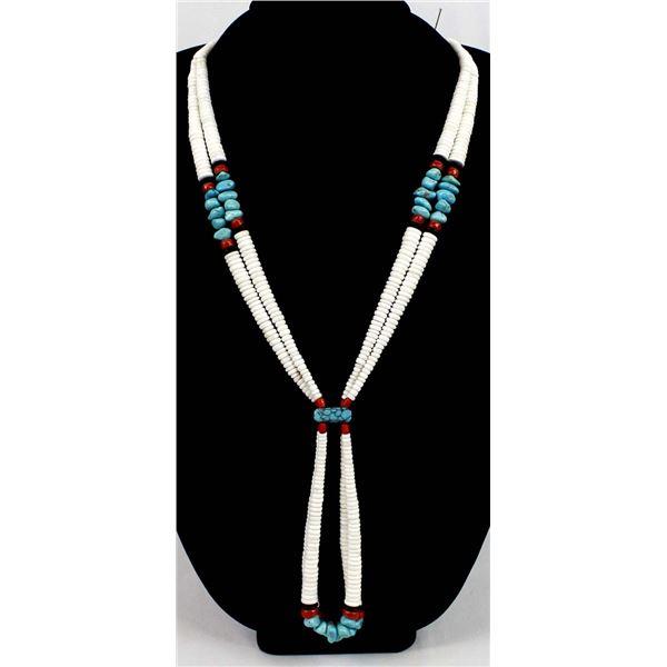 Navajo 2 Strand Turquoise & Shell Jocla Necklace