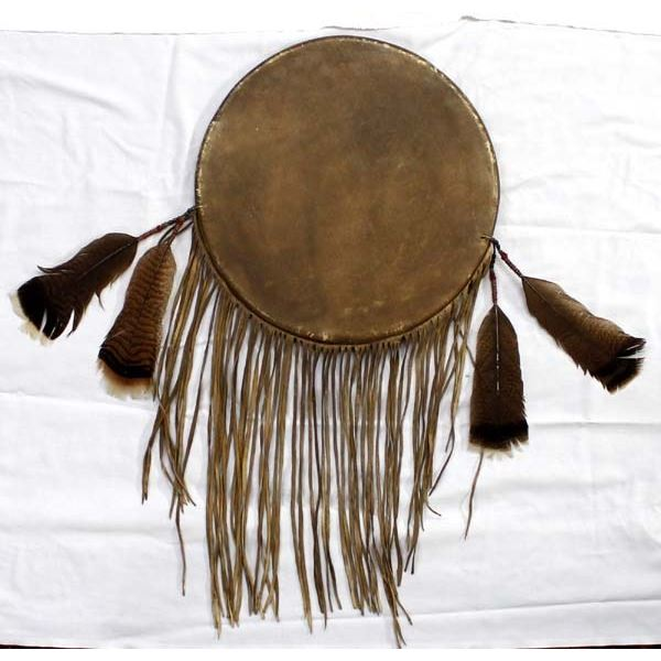 Plains Indian Style Hide & Feather Banner Shield