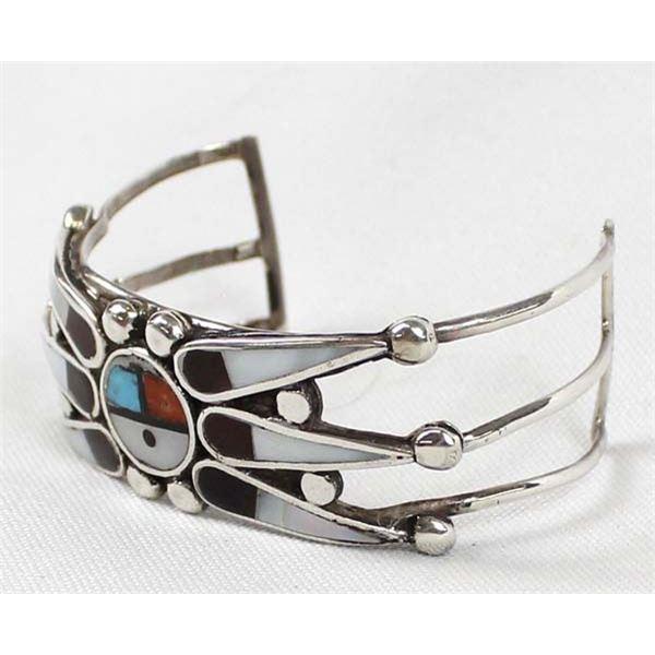 Zuni Sterling Inlay Sun Face Cuff Bracelet