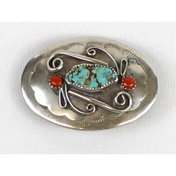 Navajo Sterling Turquoise & Coral Belt Buckle