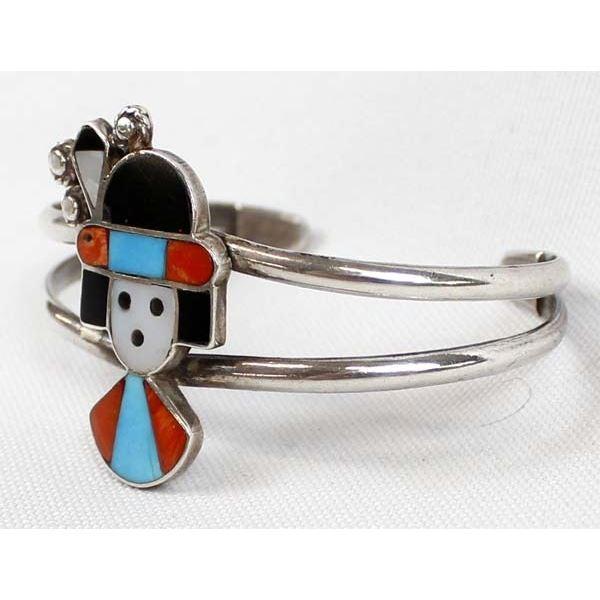 Zuni Sterling Inlay Cuff Bracelet