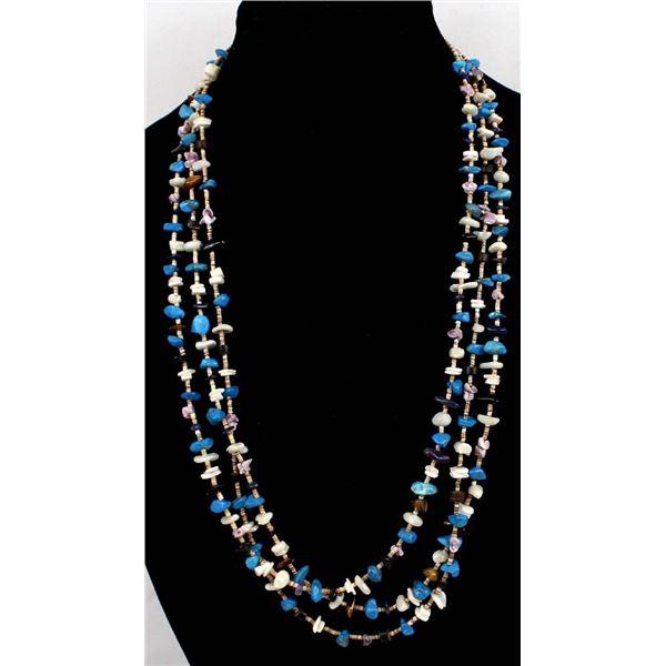Navajo Triple Strand Multi-Stone & Bead Necklace