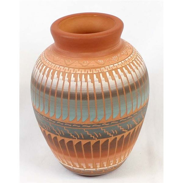 Navajo Carved & Hand Painted Ceramic Pottery Jar