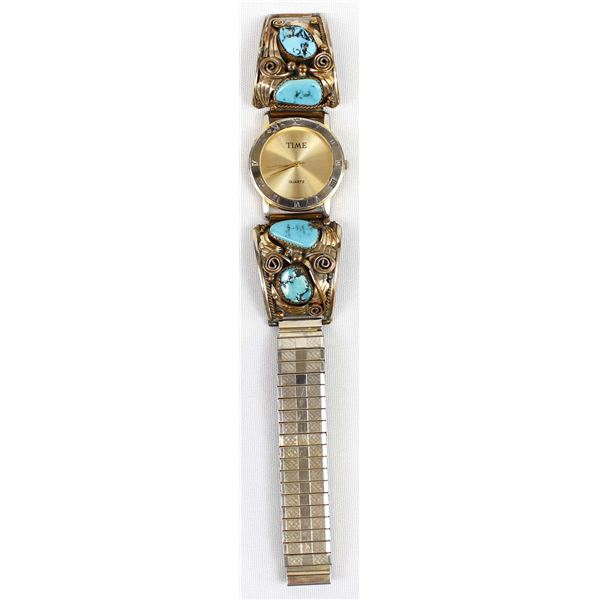Navajo Sterling Gold Filled Turquoise Watch Band