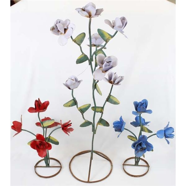 3 Metal Art Flower Yard Decor, MUST BE PICKED UP