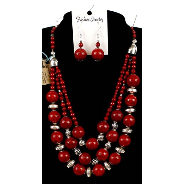 3 Strand Sponge Coral Necklace and Earrings