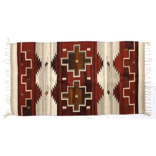 Mexican Zapotec Fringed Textile Rug