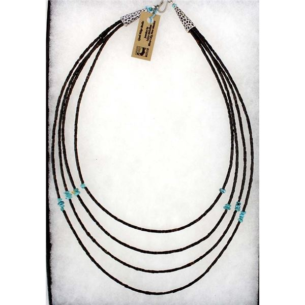 Shell Heishi & Turquoise Nugget 3 Strand Necklace