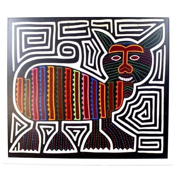 Panama Kuna Indian Framed Cat Mola