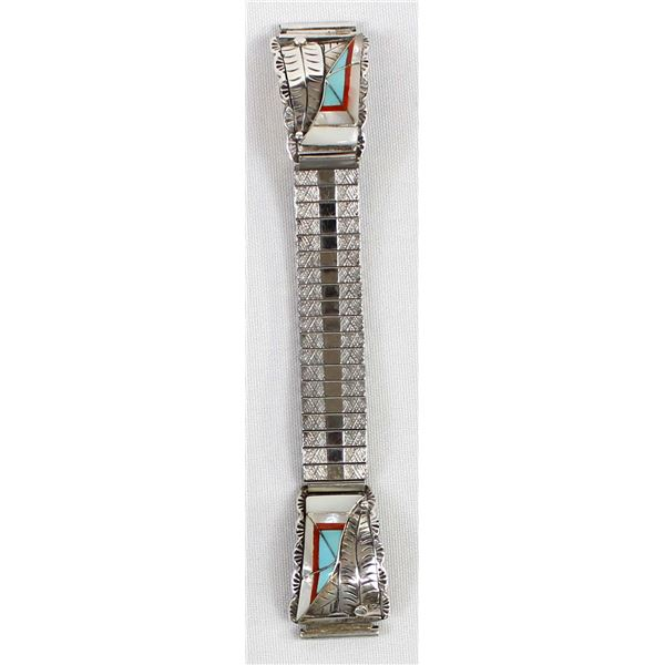 Navajo Sterling Channel Inlay Watch Band