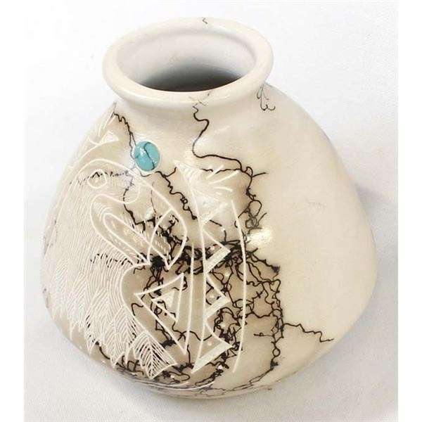 Navajo Horse Hair Ceramic Pottery Vase by S. Vail
