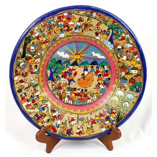 Mexican Hand Painted Plate w/ Wood Stand