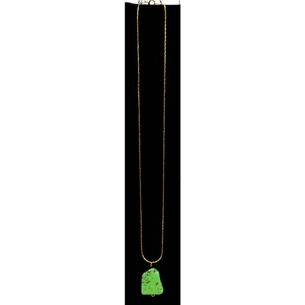 Variscite Pendant & 18K Rose Gold Plate Necklace