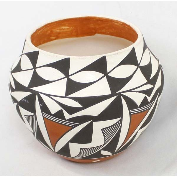 Acoma Polychrome Pottery Bowl by C. Chino