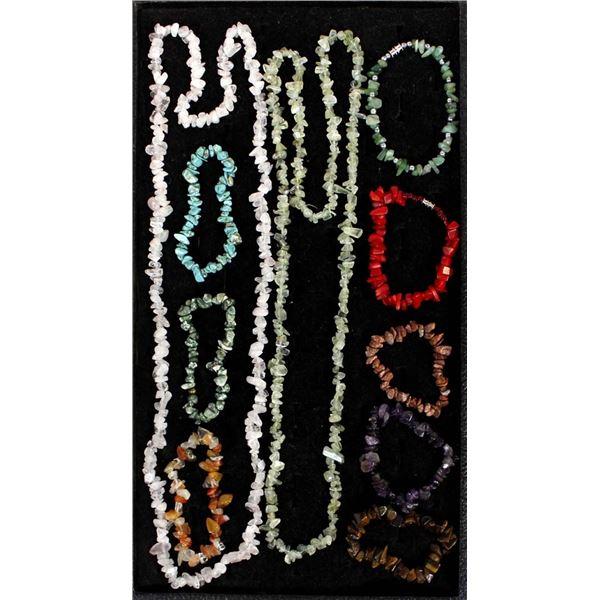 8 Precious Gemstone Bracelets & 2 Necklaces