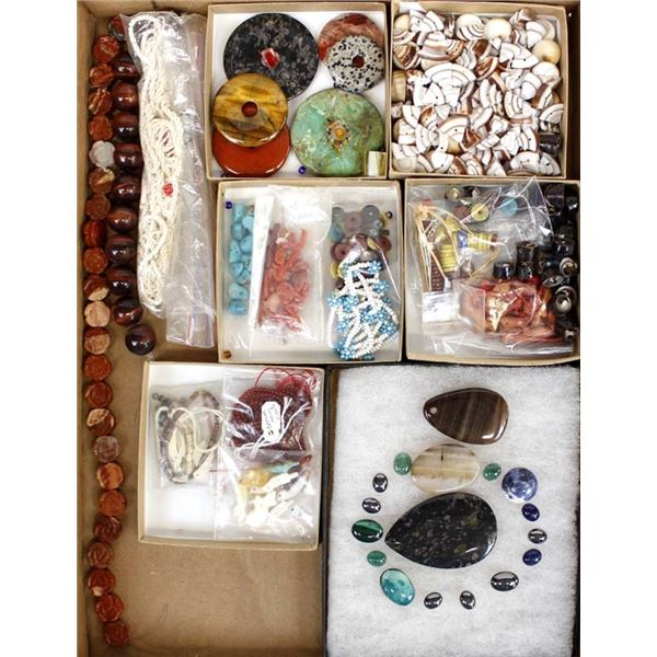 Collection of Beads, Cabochons, Shells, Supplies