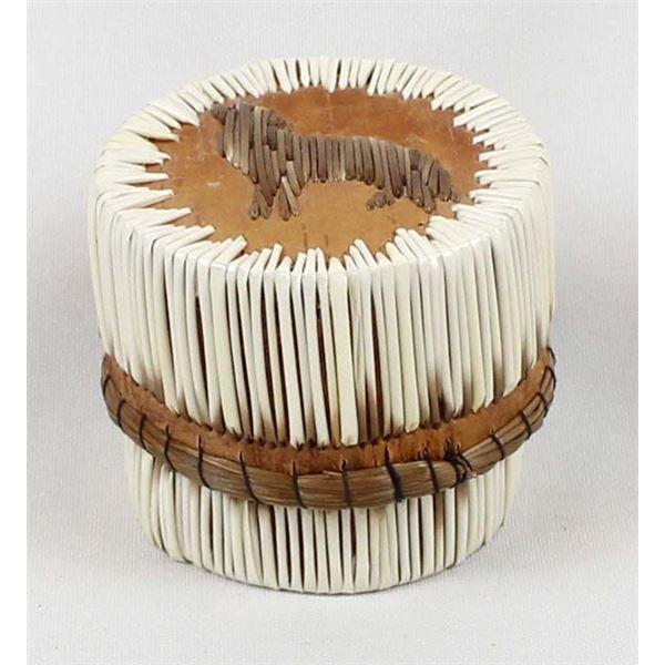 Ojibwe Porcupine Quill & Birch Bark Lidded Box