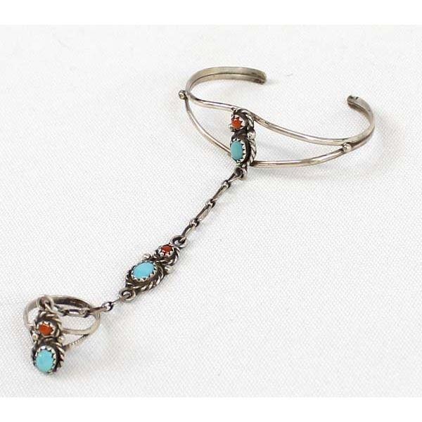 Navajo Sterling Turquoise Child's Bracelet & Ring