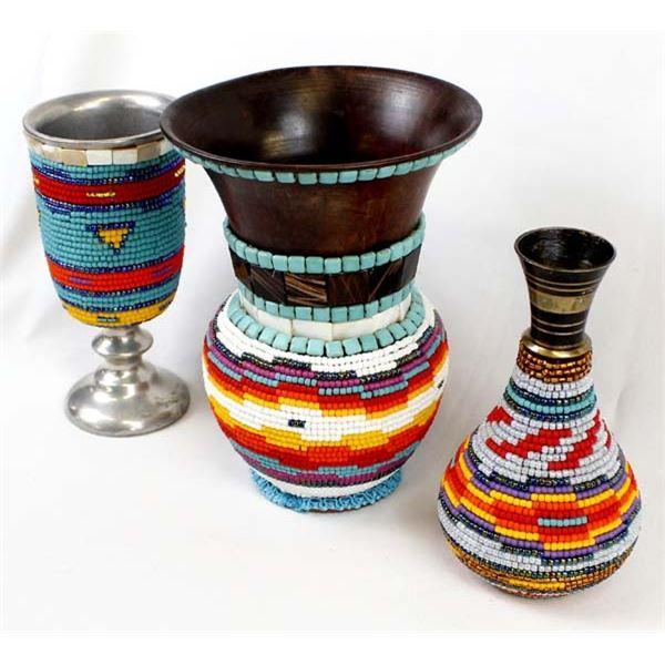 3 Hand Beaded Metal Vase by Kathy Kills Thunder