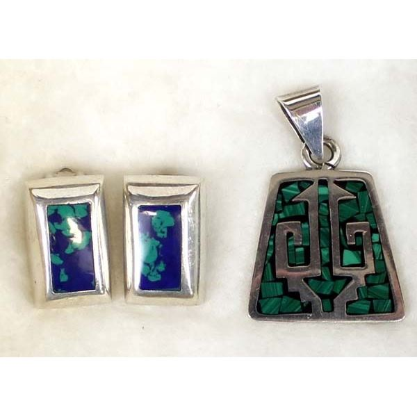 Taxco Sterling Pendant and Clip On Earrings
