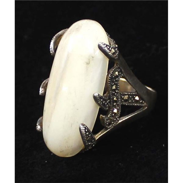 Sterling Silver, Marcasite, Mother of Pearl Ring