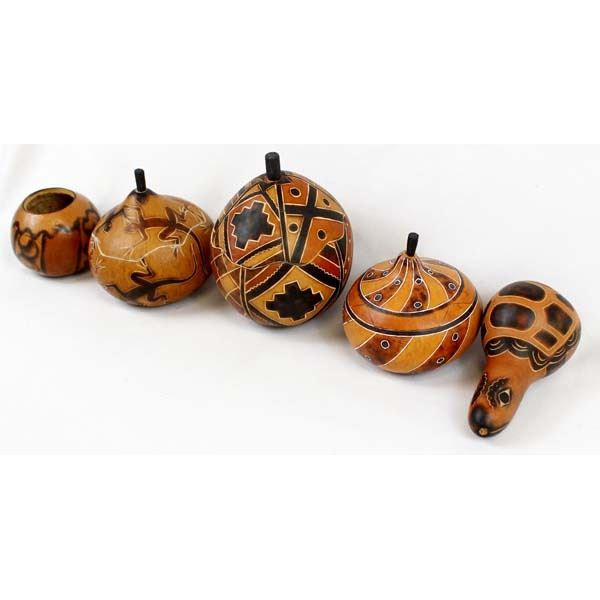5 South American Peruvian Carved Gourds