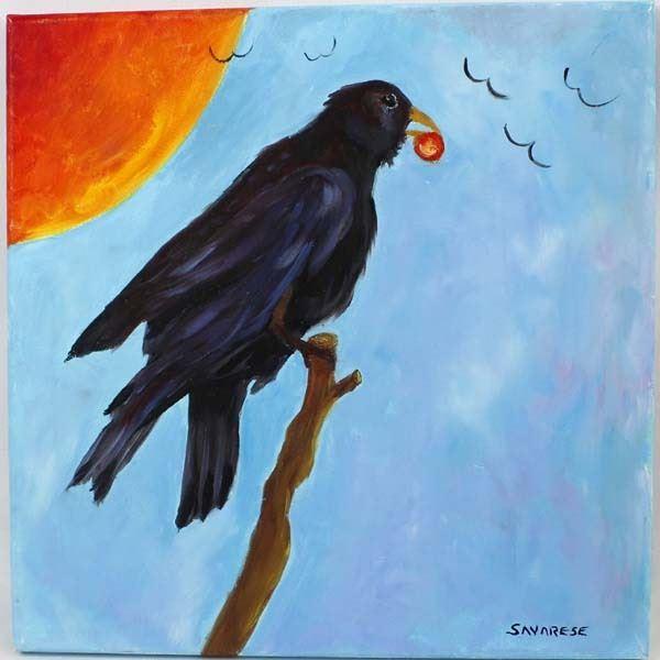 Original Oil Painting ''Raven Sun''