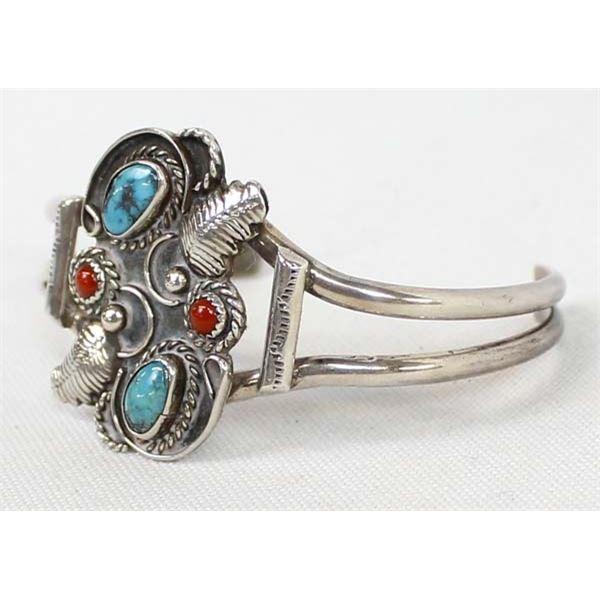 Navajo Sterling Coral & Turquoise Bracelet