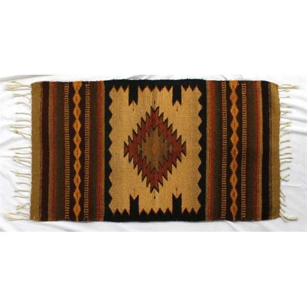 Mexican Zapotec Fringed Wool Textile Rug