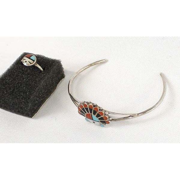 Zuni Sterling Inlay Bracelet & Ring