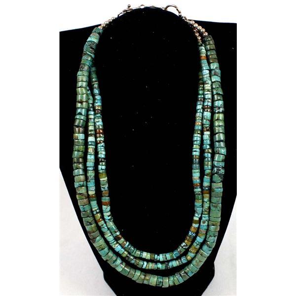 Triple Strand Graduated Turquoise Heishi Necklace