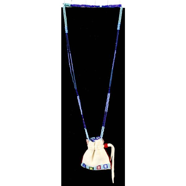Crow Doeskin Bag Necklace by Charlene Old Coyote
