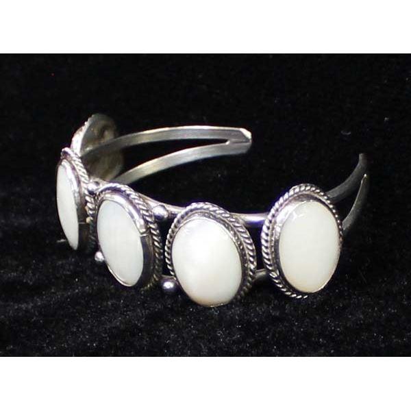 Vintage Navajo Sterling Mother of Pearl Bracelet