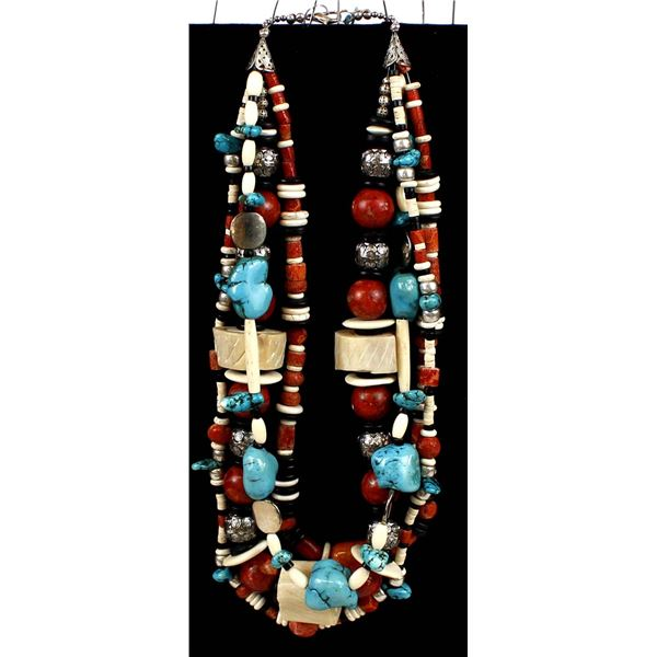 African 3 Strand Multi-Bead Necklace by McLellan